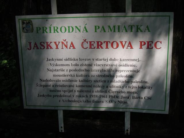 Popis u jeskyně
