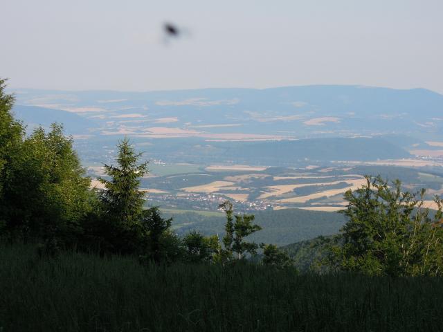 Kálnica od Jakubové, v pozadí na obzoru Bílé Karpaty